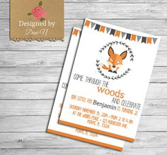 fox baby shower Invitation, Girl, Boy woodland shower invite, Fox, vintage, orange, gray, fox baby shower, party