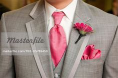 idea for groomsmen, only have the hot pink with black suit