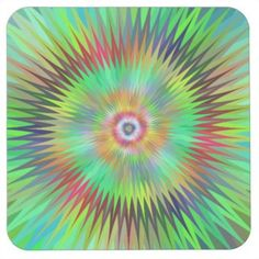 Star fractal square paper coaster $1.45 *** Multicolor star fractal design - coaster