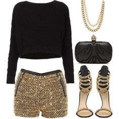 2 chains. by goldiloxx on Polyvore featuring Topshop, Giuseppe Zanotti, Alexander McQueen, Stella & Dot, multi-strand necklaces, chain necklaces, black and gold, cropped sweaters, chain link necklaces and metallic shorts