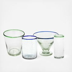 These hand-blown glasses from Sobremesa by Greenheart feature a pop of color around the rim- great for outdoor entertaining!