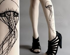 Jellyfish TATTOO gorgeous thighhigh stockings White por tattoosocks, $18.00