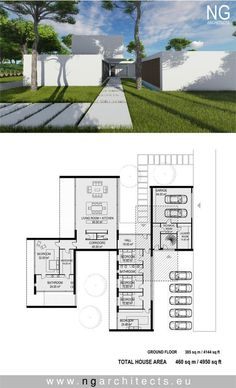 casas de luxo Viking Creek - The Lodge at Whitefish Lake Modern Floor Plans, Contemporary House Plans, Modern House Plans, Modern House Design, Architectural Design House Plans, Modern Architecture House, Architecture Plan, Courtyard House, Facade House