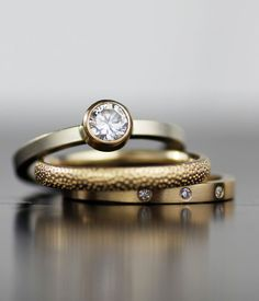 modern engagment ring set moissanite and diamond mixed by lolide