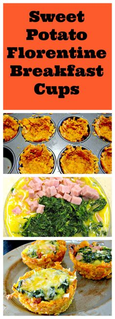I was so pleased with my Sweet Potato Breakfast Cups that I decided to create a florentine version! These little cups are so delicious and are a super-easy grab and go breakfast during hectic weekdays. This is a great way to get more veggies in your life Breakfast And Brunch, Breakfast Cups, Paleo Breakfast, Breakfast Recipes, Breakfast Spinach, Sweet Potato Muffins, Sweet Potato Breakfast, Breakfast Potatoes, Paleo Recipes