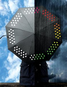 Brighten up any gloomy and/or rainy day with the color changing umbrella. Apart from keeping you nice and dry during storms, the fun water droplet design emblazoned on the umbrella changes from white to rainbow colored when it gets wet.