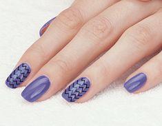 Purple Nails Chevron Toothpick Art