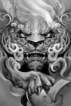 Kì lân Head Tattoos, Body Art Tattoos, Sleeve Tattoos, Cool Tattoos, Japanese Tattoo Designs, Japanese Tattoo Art, Tattoo Sketches, Tattoo Drawings, Foo Dog Tattoo Design