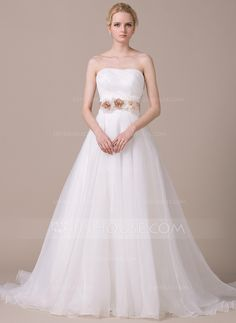 Ball-Gown Sweetheart Court Train Ruffle Sash Beading Flower(s) Sequins Bow(s) Zipper Up Strapless Sleeveless Church General Plus No Spring Summer Fall Ivory Organza Wedding Dress