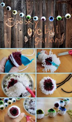 Make a spooky Halloween eyeball garland out of pompom makers and yarn that will make ghouls and goblins shiver in fear.