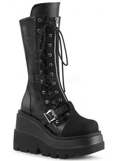 Black vegan leather mid calf boots with lace up panels and 4 buckle straps and symmetrical inside oval ring panel, a canvas toe and back zip. Edgy Shoes, Gothic Shoes, Punk Shoes, Grunge Boots, Goth Boots, Womens Gothic Boots, Heeled Boots, Shoe Boots, Hot Heels
