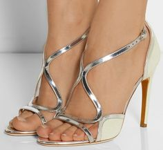 Rupert Sanderson Gloria metallic leather-trimmed suede sandals