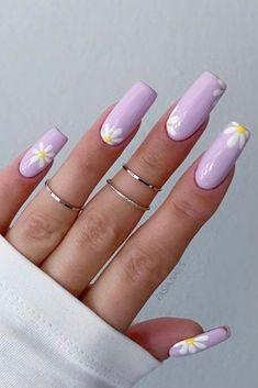 Acrylic Nails Pastel, Pastel Pink Nails, Cute Pink Nails, Purple Nails, Pretty Nails, Cute Summer Nails, Lilac Nails Design, Coffin Nails Designs Summer, Purple Nail Designs