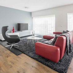 La couleur de mur de salle de séjour de sofa en cuir rouge dénoyaute le tapis gris anthracite le plancher en bois