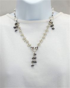 Silver sapphire pearl necklace,                          white freshwater pearls, small rough sapphires, dangle necklace, sterling toggle