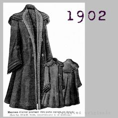Coat - can be worn open or closed - Edwardian Reproduction PDF Pattern - 1900's - made from original 1902 La Mode Illustree pattern