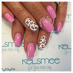Youngnails acrylic with maniq overlay pinkie nails with leopard design