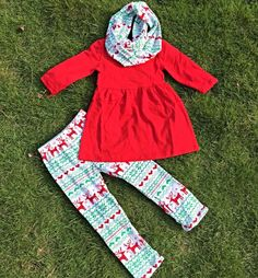 Baby Toddler Girls 3-Pc Christmas Holiday Red Top & Reindeer Snowflake Print Leggings Boutique Outfit Set W/ Matching Infinity Scarf by SwankyDudzBoutique on Etsy https://www.etsy.com/listing/248771798/baby-toddler-girls-3-pc-christmas.    So stinking cute