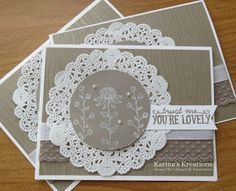 stamped the Flowers from Flowering Fields with Versamark ink on Tip Top Taupe card stock and embossed it with a blend of Whisper White Embossing Powder and Dazzling Diamonds glitter.  The greeting is from the You're So Lovely stamp set.