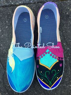 Anna and Elsa Character Shoes - Painted Shoes - Disney Painted Shoes - Frozen