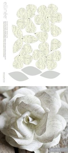 Corona de rosas de papel (patrón gratis, imprimible y tutoría) - Paper Rose Wreath (free template/printable & tutorial) from Ellinée journal Paper Flowers Diy, Handmade Flowers, Flower Crafts, Diy Paper, Fabric Flowers, Paper Crafts, Diy Crafts, Wreath Crafts, Diy Wreath