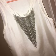 White Metal Fringe Top 100% Silk -- white top with silver metal fringe and zipper side. Super cute top! (Would keep it but it doesn't fit my chest anymore ) Barronduquette Tops Blouses