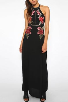 Black High Neck Floral Embroidery Chiffon Maxi Dress