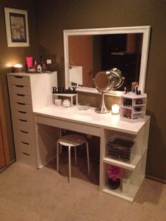 Project: Vanity....... Another DIY Vanity. Tall drawer is so awesome for tons of makeup, hair accessories and tools, jewelry, nail polishes, etc. etc.                                                                                                                                                                                 More