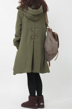 green cloak wool coat Hooded Cape women Winter wool coat by MaLieb,