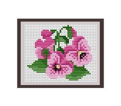 Viola Tricolor Instant Download. Heartsease Counted Cross Stitch Pattern. Nature. PDF Decor Pattern. Purple.