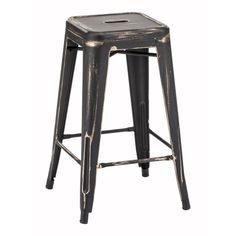 Zuo Marius Counter Stool in Antique Black Gold (Set of 2) - Home Bars USA - 1