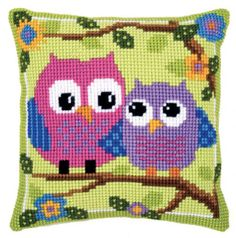 Owls on a Branch Cushion Front Chunky Cross Stitch Kit | sewandso