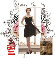 """""""Black Chiffon Spaghetti Straps Empire Simple Custom Made Prom Gowns"""" by gorgeousdressesforyou ❤ liked on Polyvore"""