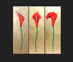 OIL PAINTING hand painted red flowers by TheartistCarolLee on Etsy, $425.00