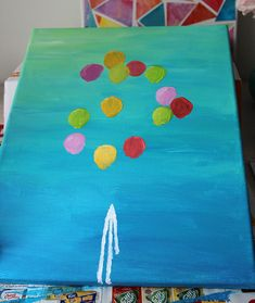 Schilderij met ballonnen - DIY   Lisanne Leeft Kids Canvas, Diys, Kids Rugs, Painting, Decor, Decoration, Bricolage, Kid Friendly Rugs, Painting Art