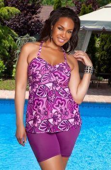 Womens Plus Size Swimwear - Always For Me Separates  - Sorbet Twist Bandeau Top $33.00