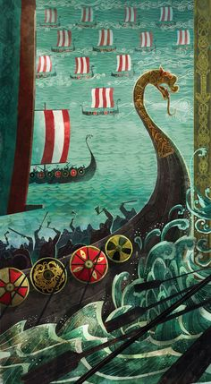#Vikings and their battle with #Irish High King Brian Boru---Cartoon Saloon animation studio artists worked for Brian Boru exhibition (Trinity College - Dublin). Illustrators : Tomm Moore (director of The Secret of Kells), Ross Stewart and Alice Dieudonne # Celtic