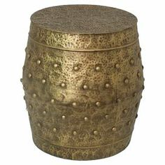 """Showcasing a hammered gold finish with rivet detail, this industrial-inspired accent table doubles as a stool when unexpected guests arrive.  Product: Accent tableConstruction Material: MetalColor: GoldDimensions: 19"""" H x 18.25"""" Diameter"""