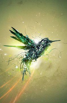 Green Bird Flight - beautifully detailed digital art. Love the dark green colour.