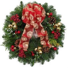 CHRISTMAS WREATHS - Berries & Bells Holiday Wreath - fresh from Alpine Christmas Wreaths - Free shipping & wreath hanger