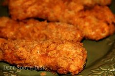 Crunchy Saltine Chicken Tenders- Stretches that chicken out - makes a bunch!