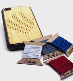 DIY Embroidery Wooden iPhone Case by Savvie Design Co. Made with bamboo and silicon.
