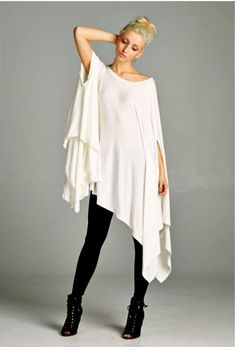 Poncho Tunic Dress Boho ivory oversize hi lo swing drapy stretchy rayon NWOT O/S #Boutique #Tunic #Casual