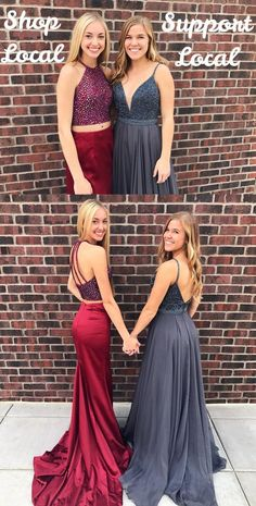 Two Piece Prom Dresses Burgundy, 2019 Long Prom Dresses Sparkly, Halter Prom Dresses Satin, Open Back Prom Dresses Sheath/Column Gorgeous Prom Dresses, Classy Prom Dresses, Sparkly Prom Dresses, Affordable Prom Dresses, Simple Prom Dress, Unique Prom Dresses, Perfect Prom Dress, Formal Dresses, Senior Prom Dresses
