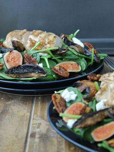 Salade poulet, figues et champignons
