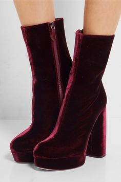 Heel measures approximately 125mm/ 5 inches Claret velvet Concealed zip fastening at side Designer color: Bordeaux Made in Italy As seen in The EDIT magazine