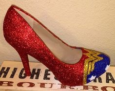 - Take flight at your next costume party or holiday bash with a Wonder Woman costume. Transforming yourself into this iconic female superhero for Hallow. Wonder Woman Wedding, Comic Book Shoes, Wonder Woman Shoes, Muses Shoes, Painted Shoes, Womens High Heels, Costumes For Women, Me Too Shoes, Stiletto Heels