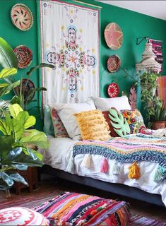 This Home May Be the Tropical Boho Bungalow of Your Dreams Bohemian House Decor Boho Bungalow Dreams Home Tropical Decor, Boho Bungalow, Bedroom Design, Bedroom Decor, Bedroom Green, Bohemian House, Home Decor, Decorate Your Room, Bedroom Colors