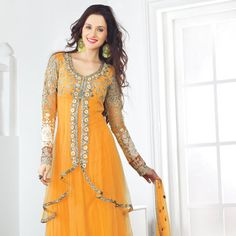 Yellow Net Churidar Kameez
