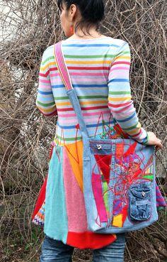 Crazy hippie appliqued bag by jamfashion on Etsy